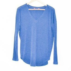 Casual and Comfortable Blue Long Sleeve Ribbed Top
